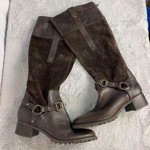 Etienne Aigner 'Viola' Brown Suede Riding Boots 8
